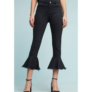 Pilcro Black Embellished High Rise Flounced Jeans